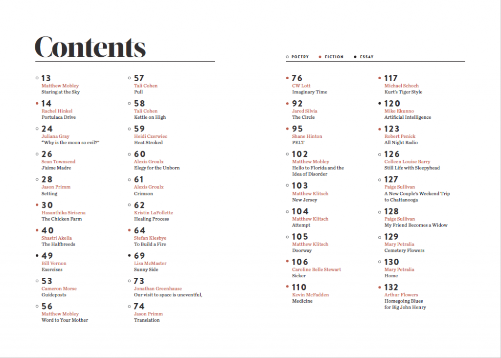 Bridge Eight Issue 5 Table of Contents